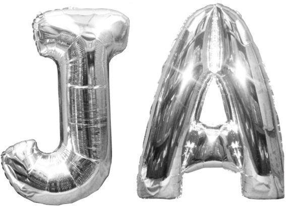 Folienballons 'JA', 2-tlg., ca. 100 cm , silber, ohne Gasfüllung