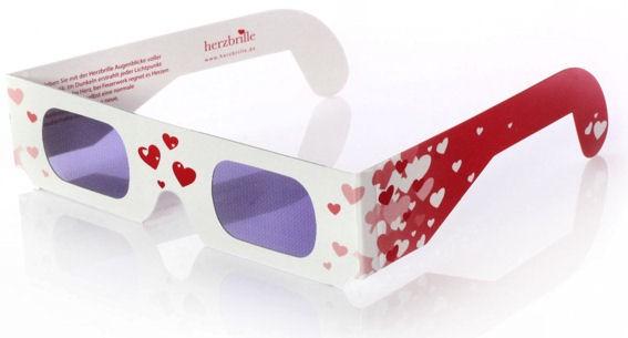 3D - Herzbrille 'Schwärmerei', Pappbrille mit Herzen, Effektbrille