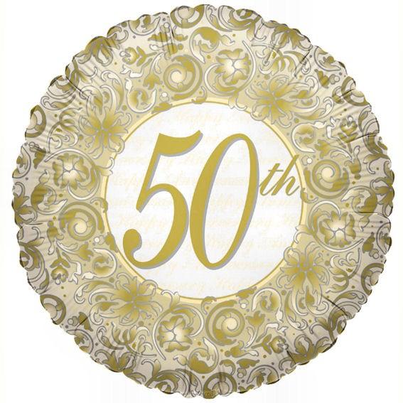 Folien-Rundballon (A) 'Happy 50th Anniversary / Goldhochzeit', ca. 45 cm Ø