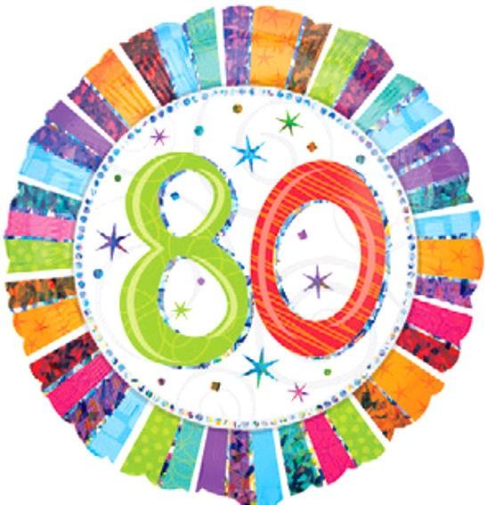 Folien-Rundballon 'Radiant Birthday 80', ca. 45 cm Ø, verschiedene Ausführungen