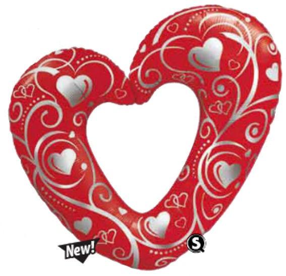 Folienballon-Stecker 'Hearts and Filigree' rot, offen mit Ausschnitt