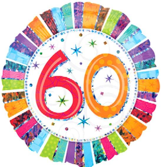 Folien-Rundballon 'Radiant Birthday 60', ca. 45 cm Ø, verschiedene Ausführungen