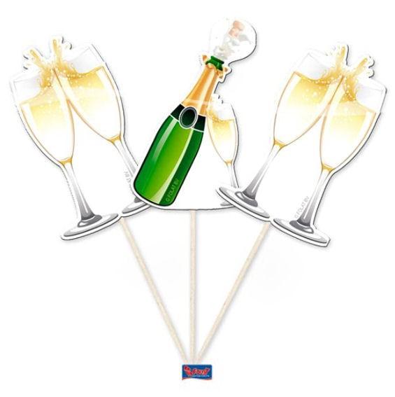 Cupcake-Topper / Picks 'Champagne Bottle' 10er-Pack. Papierartikel auf Holzstab