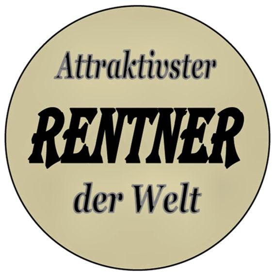 Aufkleber 'Attraktivster RENTNER der Welt' transparent, rund, Maße: ca. 5 cm Ø
