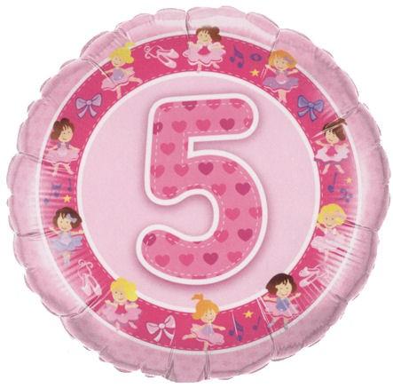 Folien-Rundballon '5. Geburtstsg - Ballerina', pink, ca. 45 cm Ø, verschiedene A