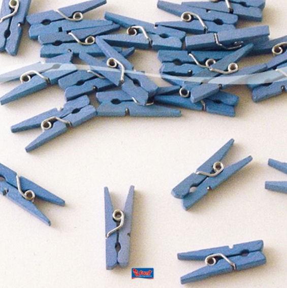 'Wäscheklammern', blau, ca. 2,5 cm, Holz