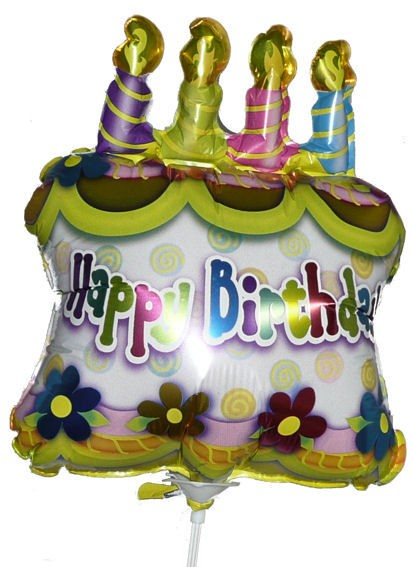 Folienballon-Stecker 'Birthday Cake with Candles'
