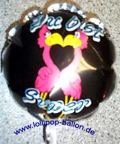 Mini-Folienballon-Stecker 'Du bist Super - Flamingos'