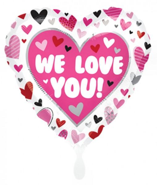 Folien-Herzballon (A) 'We Love You! - Hearts', ca. 43 cm Ø
