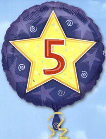 Folien-Rundballon 'Stars & Swirls Birthday 5', ca. 45 cm Ø, verschiedene Ausführ