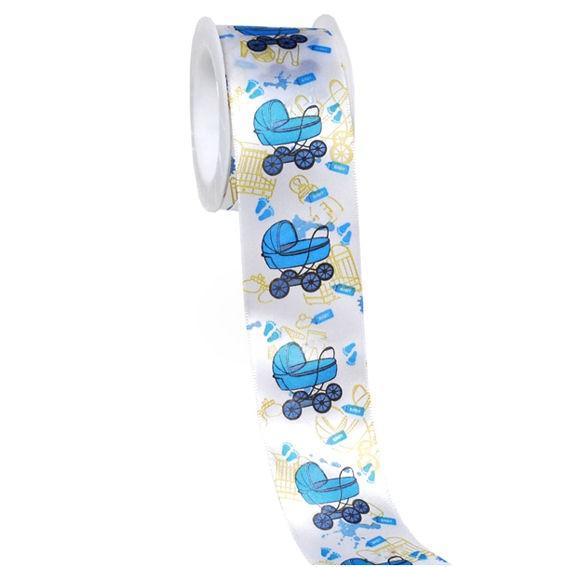 'Geburt / Junge' Geschenk-Stoffband, ca. 4 cm x 3 mtr.