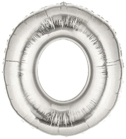 "'Buchstabe O', silber, Mini-Folienballon mit Ventil ca. 16"" / 40 cm"