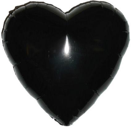 """Folien-Herzballon (A), ca. 18"""" / 45 cm Ø, schwarz"""