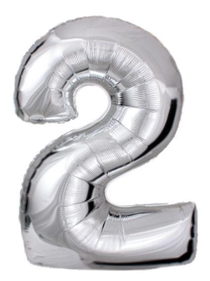 "'Zahl 2', silber, Mini-Folienballon mit Ventil ca. 16"" / 40 cm"