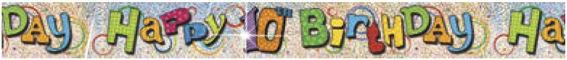 Happy 10st Birthday-Banner, holo, bunt, ca. 365 cm