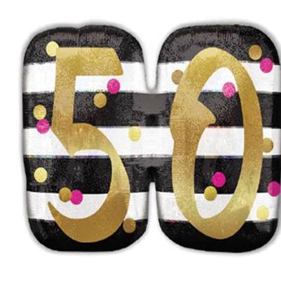 Folien-Zahlenballon (G) 'Pink & Gold Milestone 50', ca. 63 cm