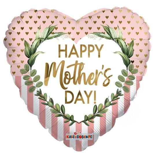 Folien-Herzballon 'Happy Mother's Day - DOTS & LINES' ca. 46 cm Ø
