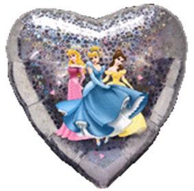Folien-Herzballon 'Princess - Love', ca. 45 cm Ø, verschiedene Ausführungen
