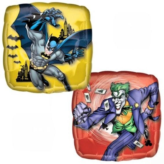 Folien-Quadratballon 'Batman & Joker Character', ca. 43 cm Ø, verschiedene Ausfü