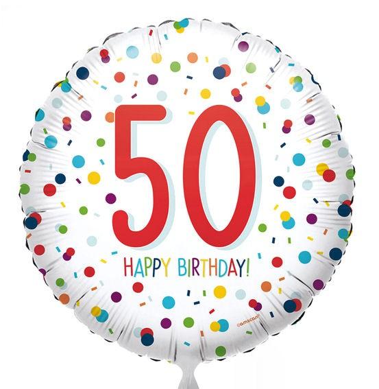 Folien-Rundballon (A) 'EU Confetti Birthday 50' ca. 43 cm