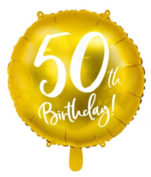 Folien-Rundballon '50th Birthday - gold', ca. 45 cm