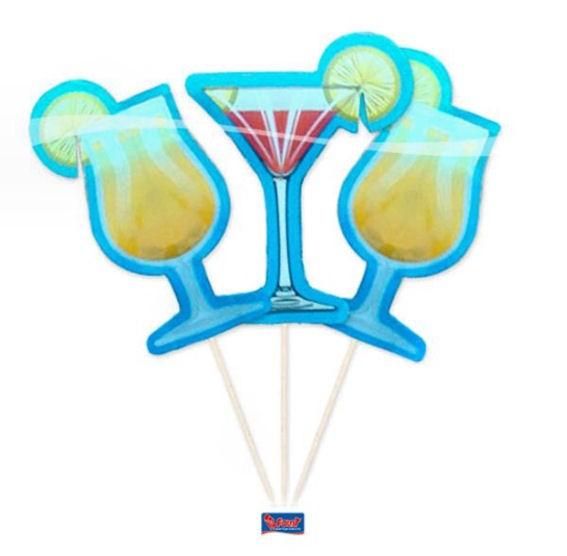 Cupcake-Toppers / Picks 'Cocktailglas' 8er-Pack. Papierartikel auf Holzstäbchen