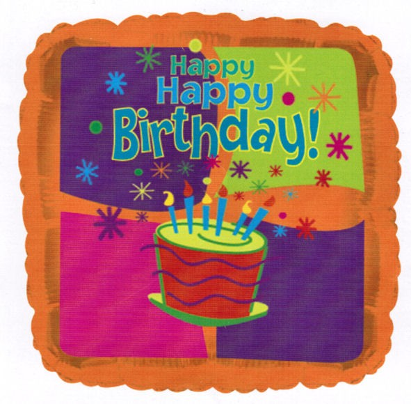 Folien-Quadratballon 'Happy Birthday Cake', ca. 45 cm Ø, verschiedene Ausführung