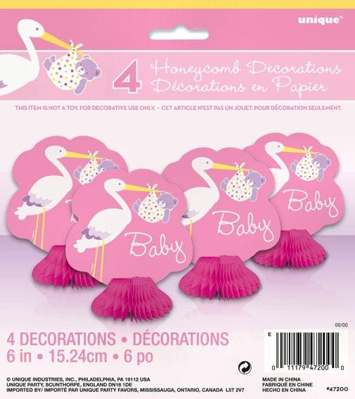Tisch-Deko 'Baby - Girl - Storch' im 4er-Pack., rosa-pink