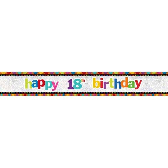 'Happy 18th Birthday'-Banner, ca. 270 cm lang