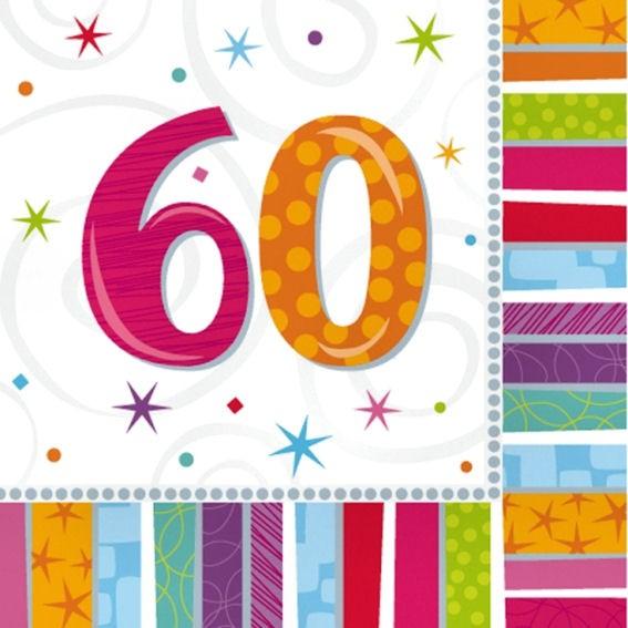 Servietten 'Radiant - Birthday 60th', 16er-Pack., ca. 33 x 33 cm