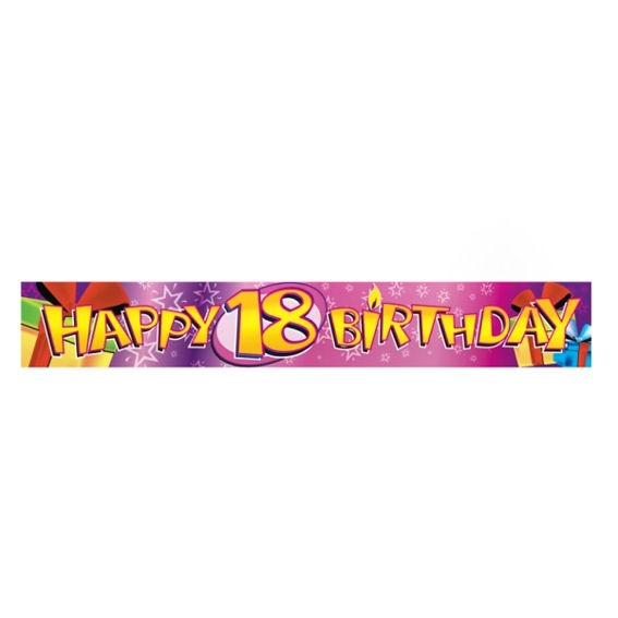'Happy 18th Birthday', Banner, pink, ca. 270 cm lang