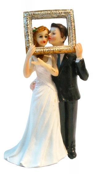 Polystone 'Hochzeitspaar mit goldenem Bilderrahmen', einfache Ausführung