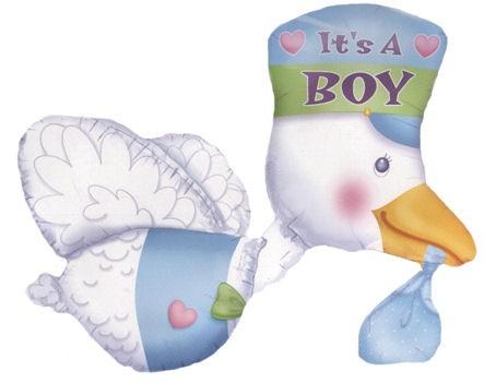 3D-Folienballon (J) 'Bundle Of Joy Stork - It's A Boy', ca. 81 cm Ø