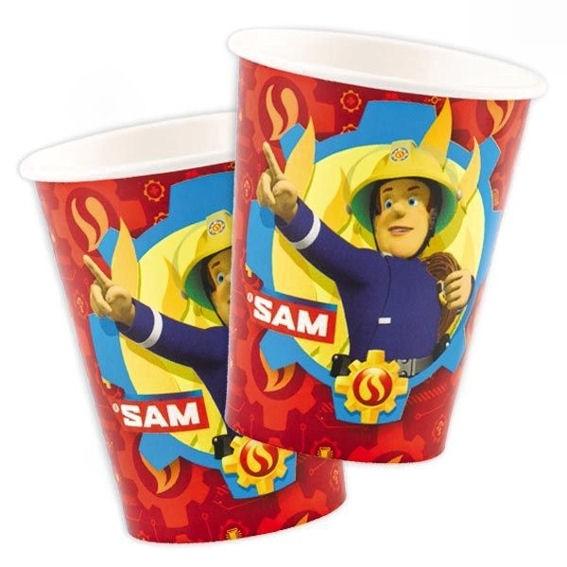 8 Party-Papp-Becher, für 266 ml-Inhalt 'Feuerwehrmann Sam'