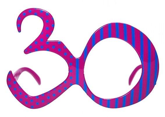 '30' - Brille, Party-Brille/Gag-Brille in Zahlen-Form, pink