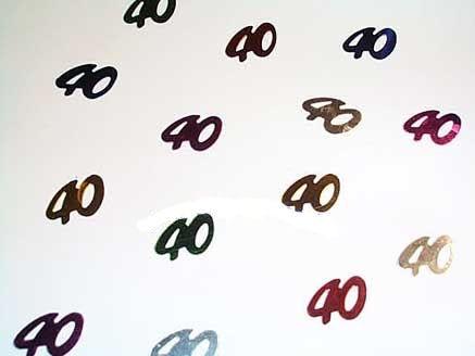 'Zahlen 40' Flitterbox-Streuartikel, bunt, ca. 14 gr.