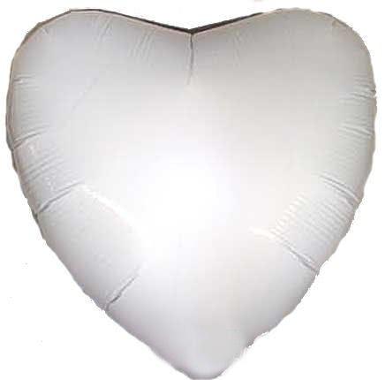 """Folien-Herzballon (A), ca. 18"""" / 45 cm Ø, weiß"""