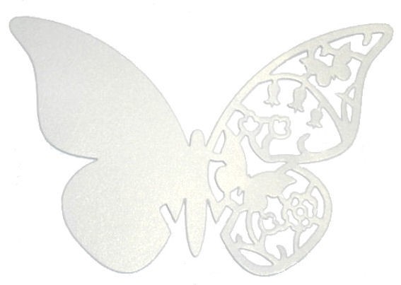 'Papier-Schmetterlinge' mit Lochung, Seidenglanz, weiß im 10er-Pack.