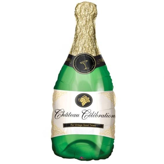 Folienballon 'Champagne-Flasche', grün/gold, ca. 91 cm Ø, ohne Gasfüllung