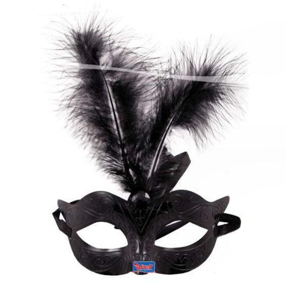 Venizianische Maske, Kunststoff, Einheitsgröße, schwarz mit Federn + Strassstein