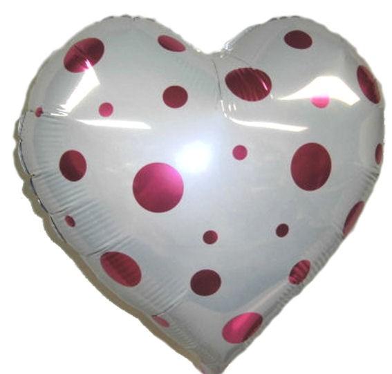 Folien-Herzballon 'Polka Dots' weiß, mit pinken Tupfen