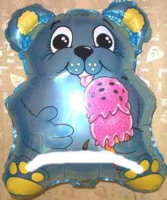 Folienballon 'Eis-Bärchen', hellblau, ca. 53 cm Ø, ohne Gasfüllung