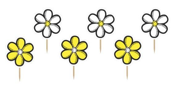 Cupcake-Toppers / Picks 'Flower', 6er-Pack. Papierartikel auf Holzstäbchen