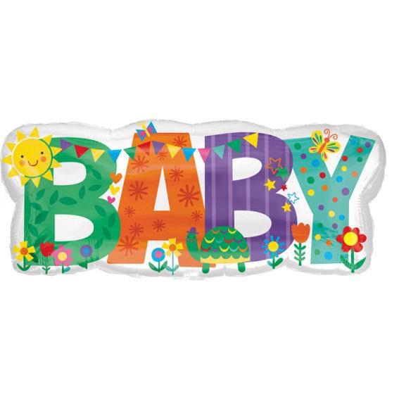 FolienballonShape (G) 'Baby Banner Cute Icons', ca. 83 cm