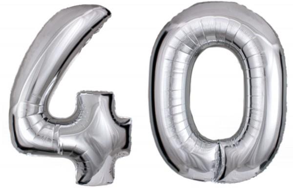 Folien-Zahlenballons (G), silber - XXL - 40, Gas geeignet