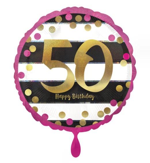 Folien-Rundballon (A) 'Pink & Gold Milestone - 50', ca. 45 cm