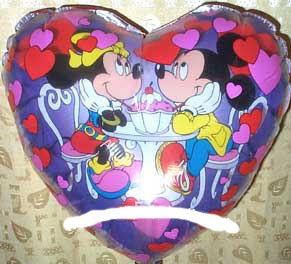 Panorama-Folien-Herzballon (B) 'Minnie & Mickey Mouse', ca. 50 cm Ø