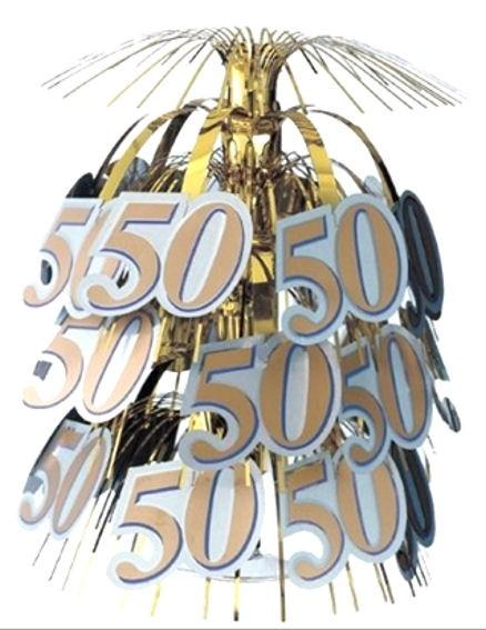 Centerpiece / Tischdekoration '50', gold, ca. 45 cm