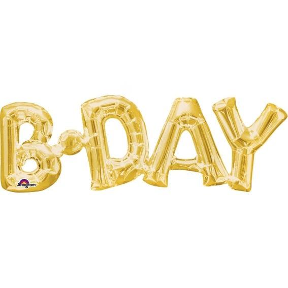 Folien-LUFTballon Schriftzug / Wort 'B.Day / Birthday' gold
