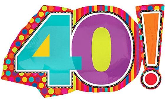 Folien-Zahlenballon '40! - Birthday Dots & Stripes', ca. 74 cm, ohne Gasfüllung